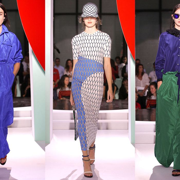 The Kenzo show (Chloë Sevigny is on the left, and yes, on the right are some really insanely gigantic pants).