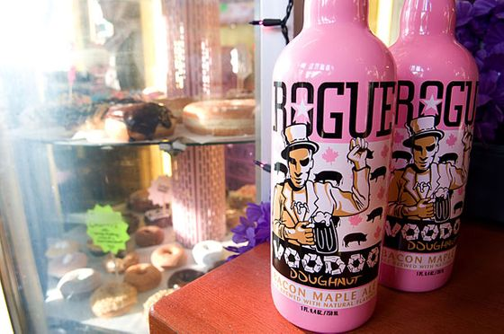 "<b>Bacon-Maple Ale</b>    <a href=""http://www.rogue.com/"">Rogue Distillery & Public House</a>  <i>1339 NW Flanders St., nr. NW 14th Ave.; 503-222-5910</i>  Two of Oregon's most famous names, Rogue Ales and <a href=""http://voodoodoughnut.com/about.php"">Voodoo Doughnut</a>, collaborated on the maple- and bacon-infused beer, which we're definitely classifying as a drinkable dessert. Voodoo co-owner Kenneth ""Cat Daddy"" Pogson recommends pairing the brew with his shop's bacon-maple bar ($2.50). ""It even makes the beer taste better,"" he tells us. Although he cautions, ""That should probably be your bacon quotient for the month."""