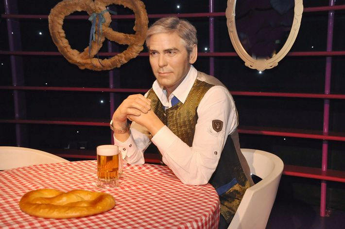 A George Clooney wax figure dressed in Austrian garb