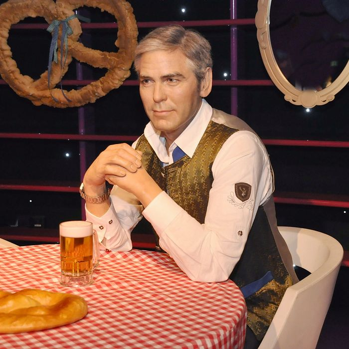 A George Clooney wax figure dressed in Austrian garb
