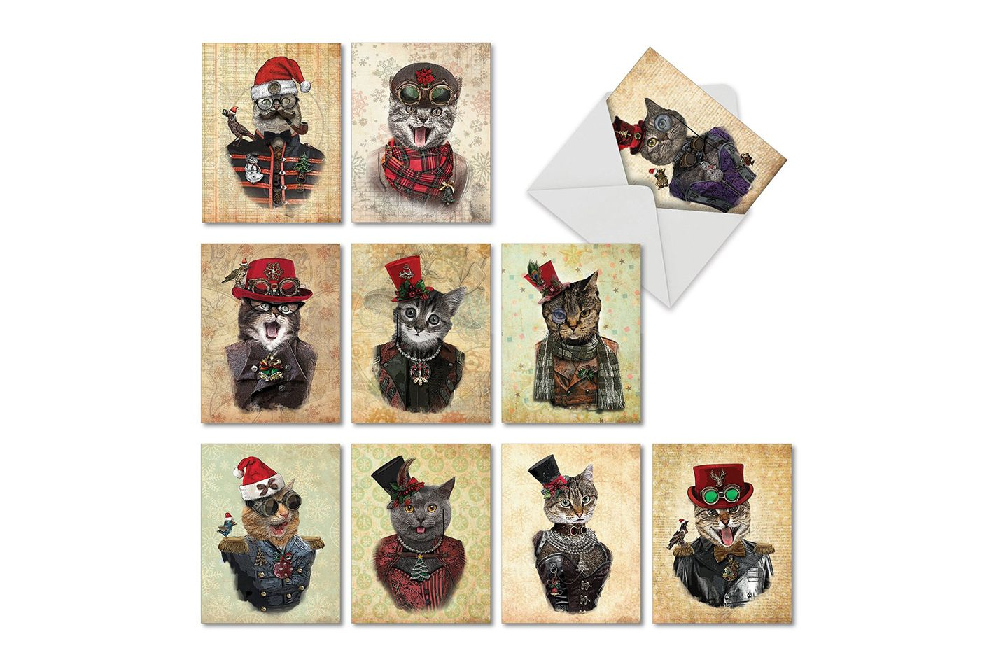 M6554XSB Christmas Steampunk Cats: 10 Assorted Blank Christmas Note Cards