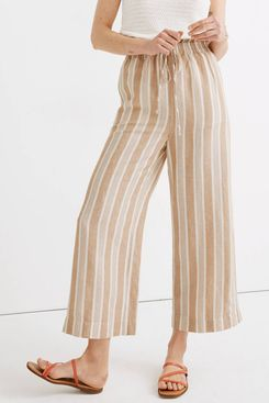 Madewell Smocked Huston Pull-On Crop Pants in Stripe