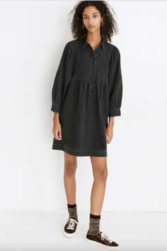 Madewell Denim Baby-Doll Shirtdress in Washed Black