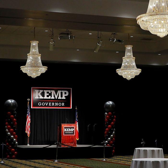 Brian Kemp election day party setup.
