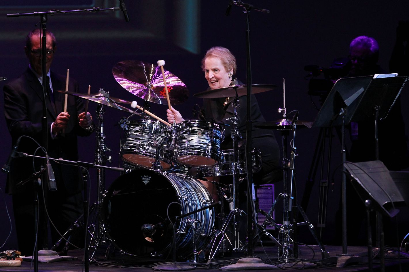 WASHINGTON, DC - SEPTEMBER 23:  Honoree and former U.S. Secretary of State Madeleine Albright peforms at the Thelonious Monk International Jazz Drums Competition and Gala Concert at The Kennedy Center on September 23, 2012 in Washington, DC.  (Photo by Paul Morigi/Getty Images for The Thelonious Monk Institute of Jazz)