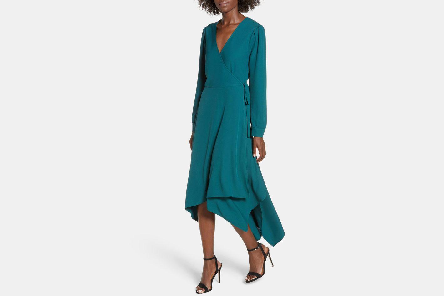 Leith Sharkbite Hem Wrap Dress