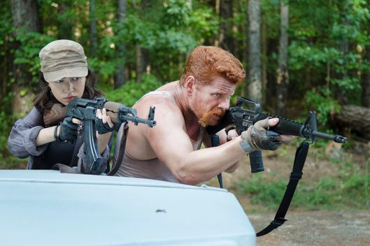 Christian Serratos as Rosita Espinosa and  Michael Cudlitz as Abraham - The Walking Dead _ Season 5, Episode 11 - Photo Credit: Gene Page/AMC
