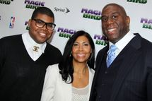 "EJ Johnson, Lisa Johnson and Magic Johnson attend the ""Magic/Bird"" Broadway opening night at the Longacre Theatre on April 11, 2012 in New York City."