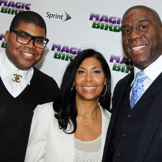 EJ Johnson, Lisa Johnson and Magic Johnson attend the