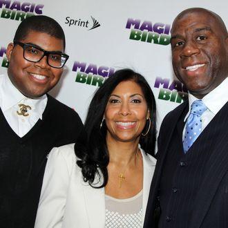 EJ Johnson, Lisa Johnson and Magic Johnson attend the
