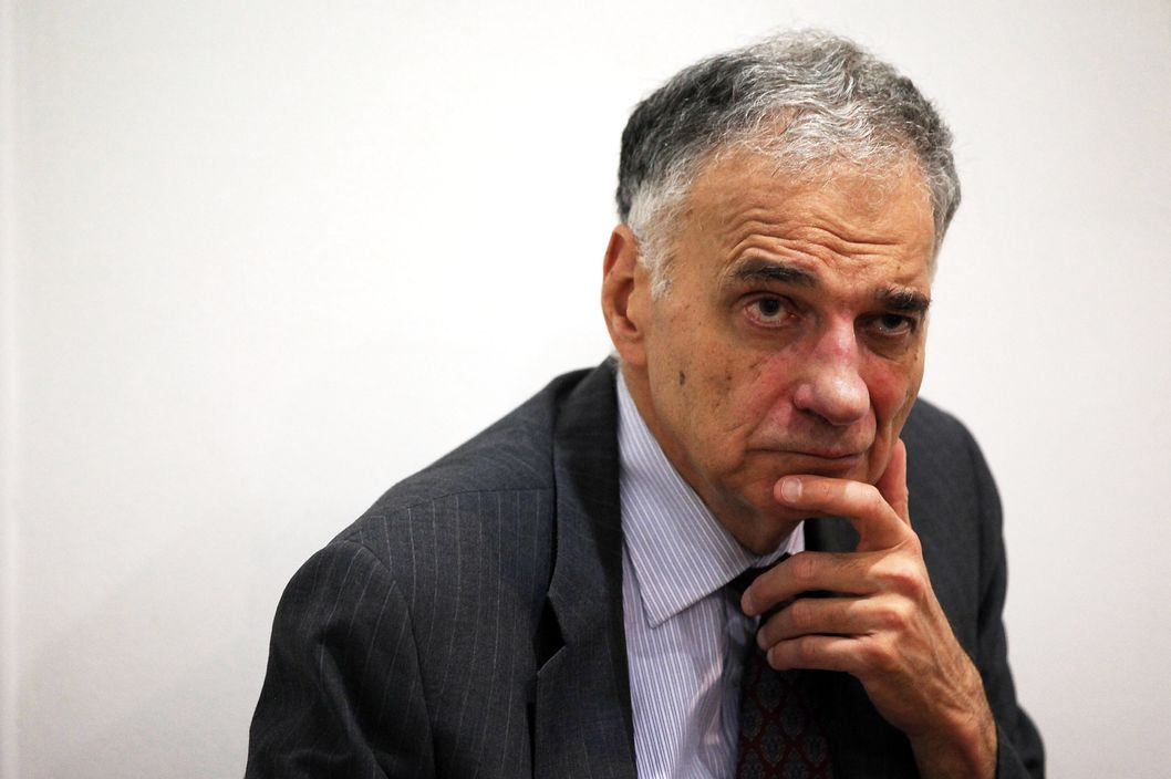"Former presidential candidate Ralph Nader listens during a news conference July 2, 2012 at Public Citizen in Washington, DC. Nader held a news conference to announce an ""upcoming limited general strike to protest the colonial status of the District of Columbia and to support D.C. statehood."""