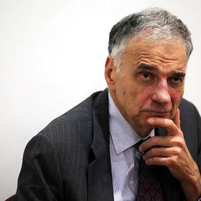 Former presidential candidate Ralph Nader listens during a news conference July 2, 2012 at Public Citizen in Washington, DC. Nader held a news conference to announce an