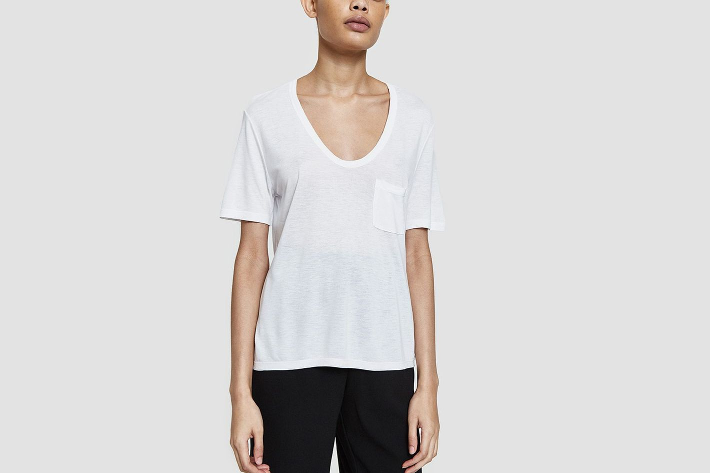 T by Alexander Wang Classic Cropped Tee in White
