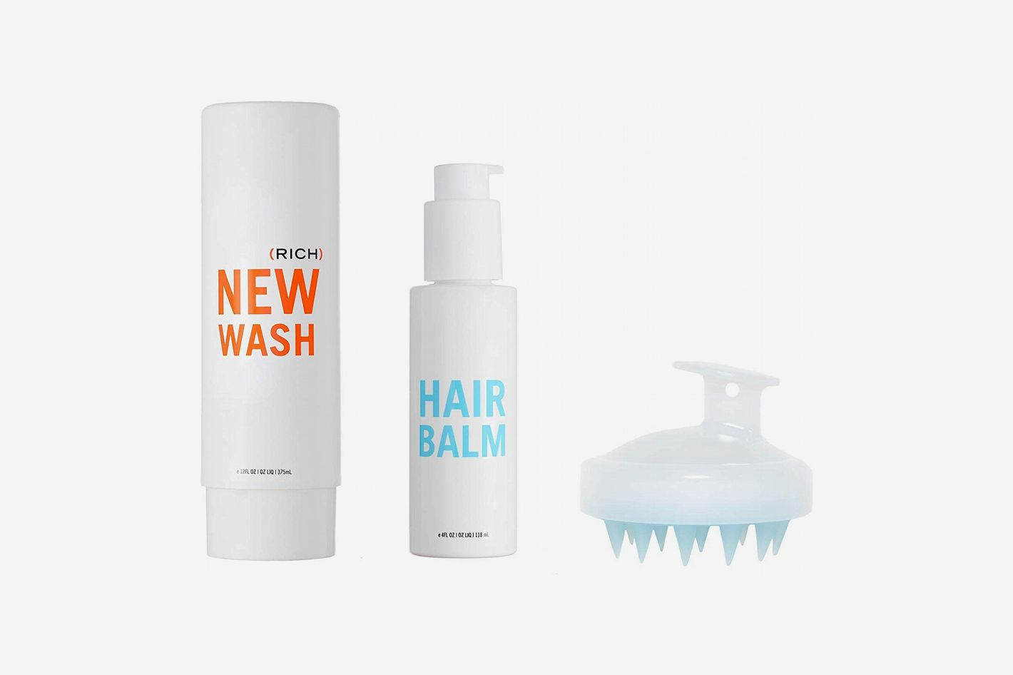 Hairstory New Wash Rich Kit - Hair Cleanser 8 oz + Hair Balm 4 oz + In-Shower Brush for Cleansing & Conditioning