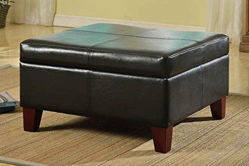 HomePop K2380-E169 Bonded Leather Square Storage Ottoman Coffee Table with Wood Legs