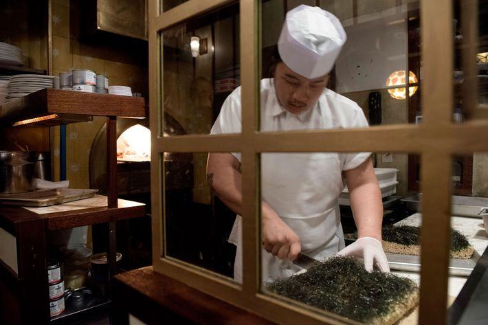 Seaweed-topped Rice Krispie Treats.