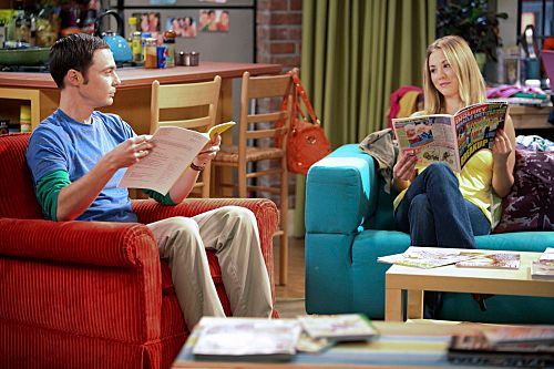 """""""The Infestation Hypothesis"""" -- A fight between Sheldon (Jim Parsons, left) and Penny (Kaley Cuoco, right) leaves Amy caught in the middle, while Leonard tries to spice up his long-distance relationship with Priya, on THE BIG BANG THEORY, at a special time, Thursday Sept. 22 (8:30-9:00 PM, ET/PT) on the CBS Television Network.           Photo: Adam Taylor/Warner Bros.           ©2011 Warner Bros. Television. All Rights Reserved."""