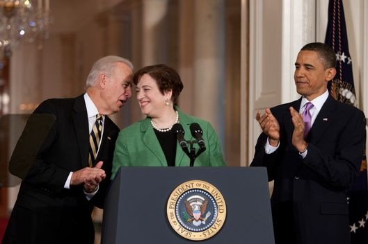 10 May 2010, Washington, DC, USA --- U.S. President Barack Obama and Vice President Joe Biden applaud beside nominee for Supreme Court Justice Solicitor General Elena Kagan in the East Room at the White House in Washington --- Image by ? Brooks Kraft/Corbis