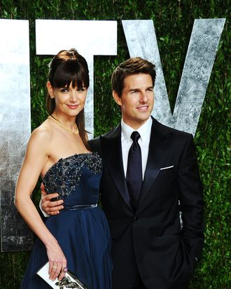 Actors Katie Holmes and Tom Cruise arrive at the 2012 Vanity Fair Oscar Party hosted by Graydon Carter at Sunset Tower on February 26, 2012