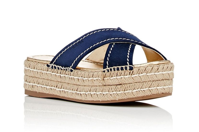 Prada Crisscross-Strap Platform Espadrille Sandals