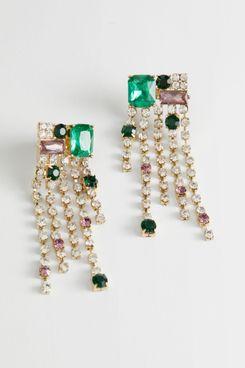 & Other Stories Dangling Rhinestone Gem Earrings