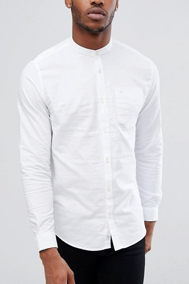 b3cbd465553 River Island oxford shirt with grandad collar in white