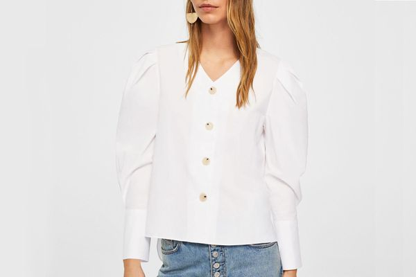 Mango Puffled Sleeves Poplin Shirt