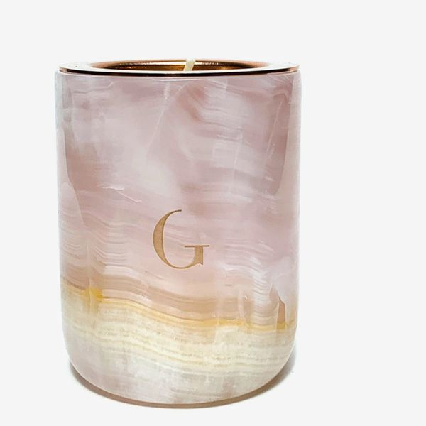 Gilded Pink Onyx Marble Luxury Candle