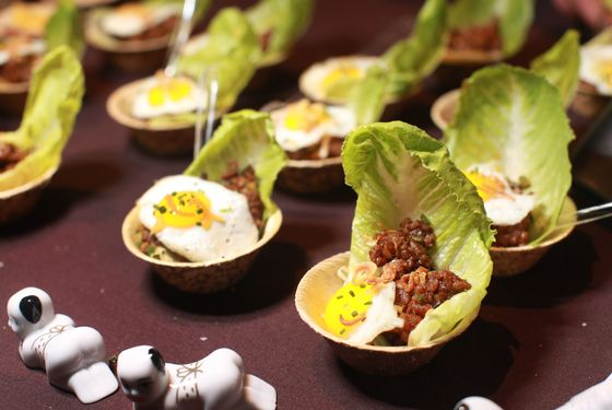 Tao's Minchi lettuce cups and Portuguese egg tarts.
