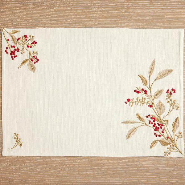 Monique Lhuillier Winter Berries Cotton Placemats - Set of 4