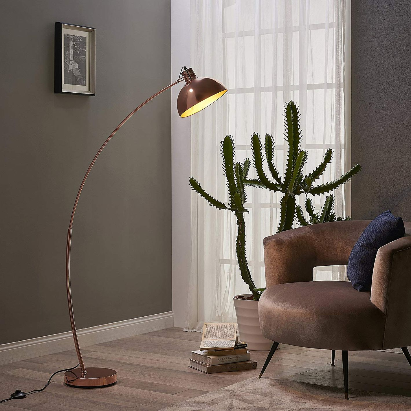 "Teamson Design Versanora Arco 63"" Rose Gold Metal Arc Floor Reading Lamp"