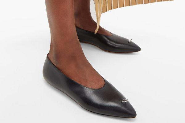 Marni Ring-Pierced Point-Toe Leather Flats