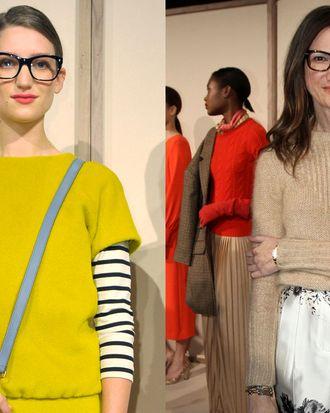 Left: Model Michele Ouellet; right: Jenna Lyons.