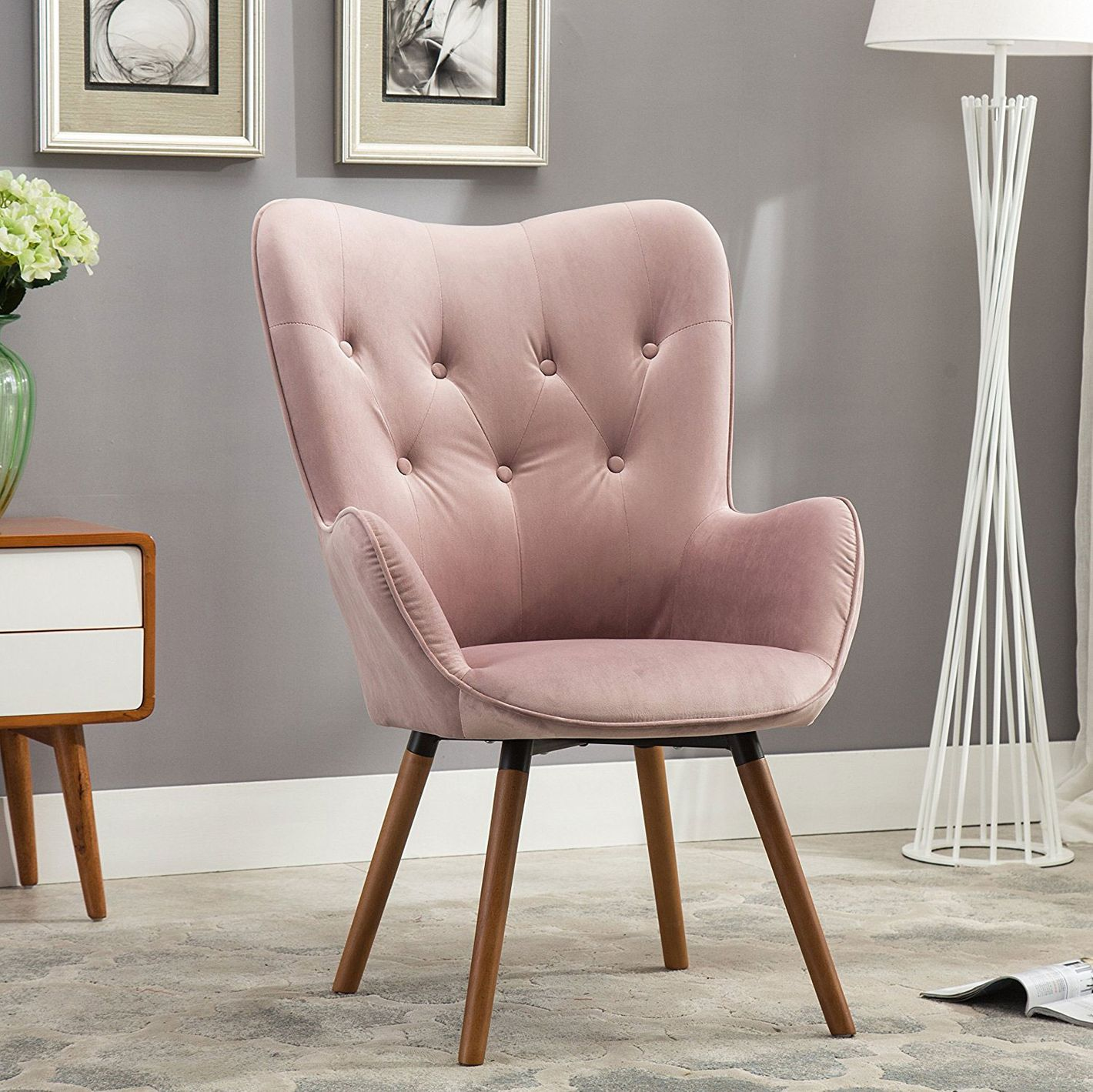 Roundhill Furniture Doarnin Contemporary Silky Velvet Tufted Button Back Accent Chair,