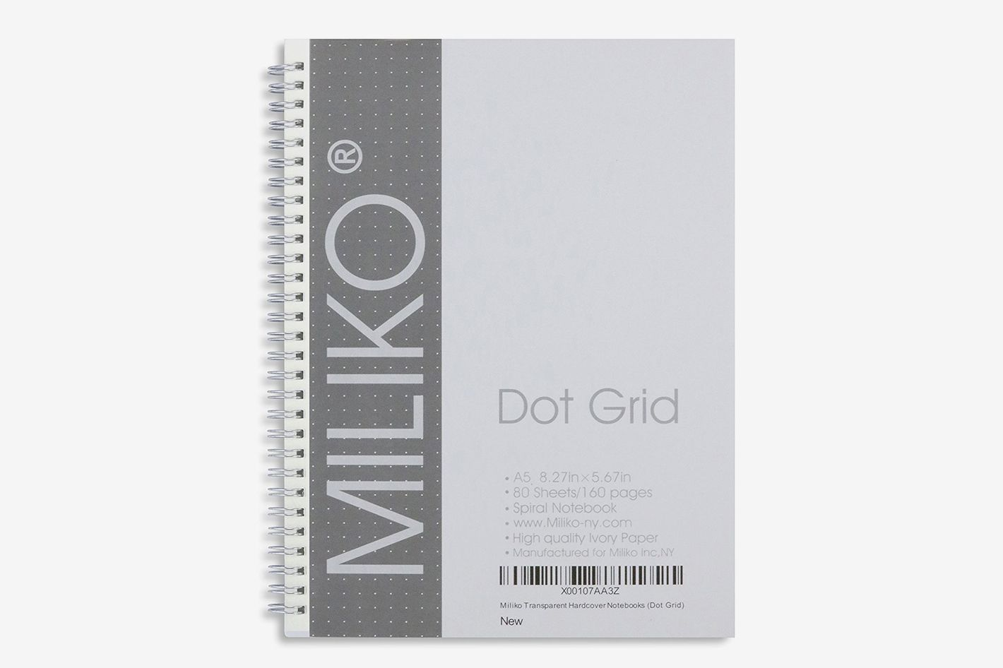 Miliko Transparent Hardcover A5 Size Dot Grid Spiral Notebook 2-Pack