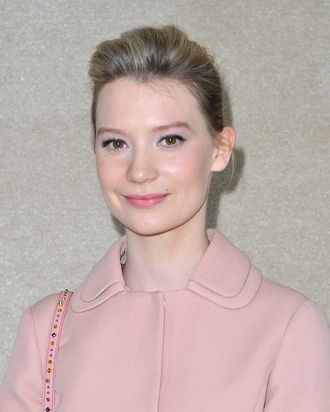 PARIS, FRANCE - MARCH 07: Mia Wasikowska attends the Miu Miu Ready-To-Wear Fall/Winter 2012 show as part of Paris Fashion Week at Conseil Economique et Social on March 7, 2012 in Paris, France. (Photo by Pascal Le Segretain/Getty Images)