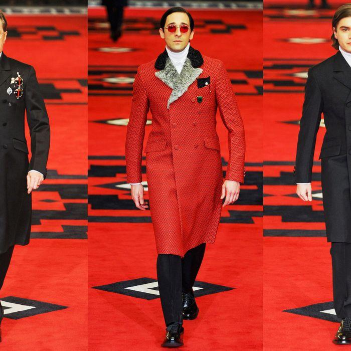 From left: Gary Oldman, Adrien Brody, and Emile Hirsch on the Prada menswear runway.