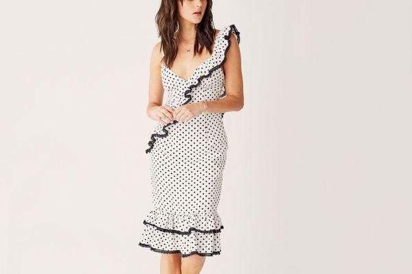 Suboo Frill Midi Dress - White/Black