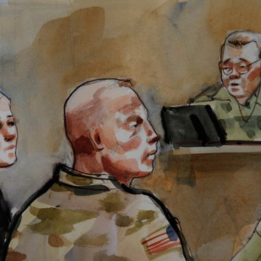 In this detail of a courtroom sketch, U.S. Army Staff Sgt. Robert Bales, center, is shown Monday, Nov. 5, 2012, during a preliminary hearing in a military courtroom at Joint Base Lewis McChord in Washington state. Bales is accused of 16 counts of premeditated murder and six counts of attempted murder for a pre-dawn attack on two villages in Kandahar Province in Afghanistan in March 2012. At right is Investigating Officer Col. Lee Deneke, and at left is Bales' attorney, Emma Scanlan. (AP Photo/Lois Silver) TV OUT