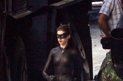 Christian Bale, Anne Hathaway and Gary Oldman on the set of 'Dark Knight Rises.' Seen as Batman, Cat Woman and Gordon, the trio are seen on set for a scene. They get touched up with make up and Anne at one point puts her head on Christian Bales shoulder. <P> Pictured: Anne Hathaway  <P> <B>Ref: SPL319321  240911  </B><BR/> Picture by: PhamousFotos / Splash News<BR/> </P><P> <B>Splash News and Pictures</B><BR/> Los Angeles:310-821-2666<BR/> New York:212-619-2666<BR/> London:870-934-2666<BR/> photodesk@splashnews.com<BR/> </P>