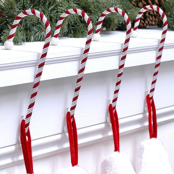 Haute Decor Candy Cane Stocking Holder, 4-Pack