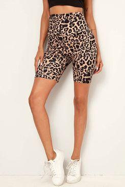 SHEIN Wide Waistband Leopard Biker Shorts