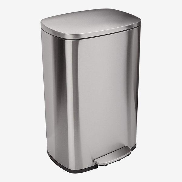 AmazonBasics Rectangle Soft-Close Trash Can - 50 Liter/13 Gallon, Satin Nickel