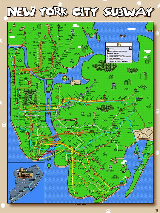 new york city subway map gets super mariofied