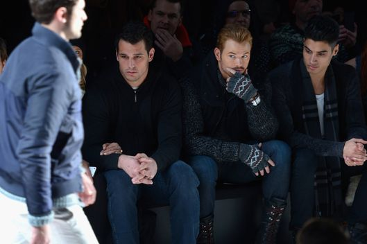 NFL player Andrew Gachkar, actor Kellan Lutz, and  Siva Kaneswaran attend Black Sail By Nautica fashion show during Mercedes-Benz Fashion Week Fall 2014 at The Salon at Lincoln Center on February 7, 2014 in New York City.