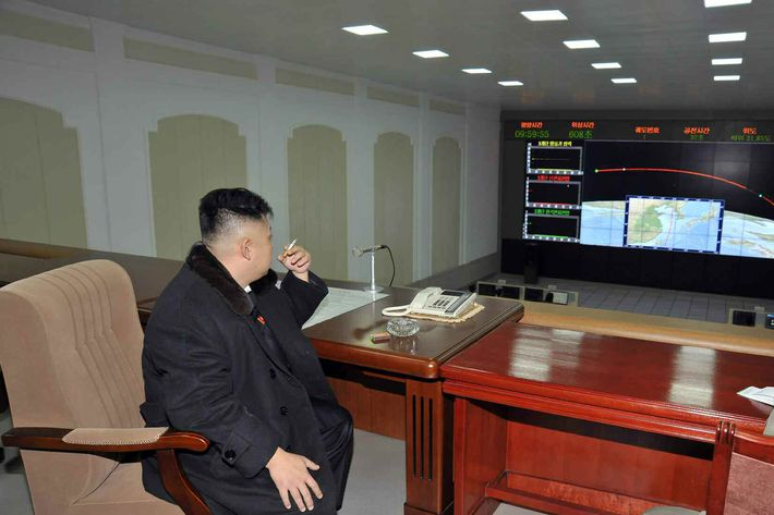 Kim Jong-un orders rocket launch This image captured from the Rodong Shinmun, a daily of North Korea's Workers Party, on Dec. 14, 2012, shows North Korean leader Kim Jong-un watching the North's long-range rocket enter orbit at the Sohae Space Center in Cholsan, North Korea, on Dec. 12. Kim arrived at the center about one hour before the liftoff of the rocket.
