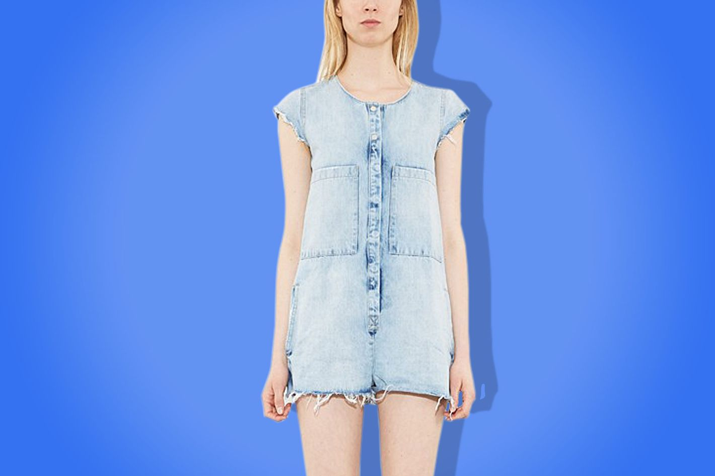 c0a4a2ac86 The Shapeless Denim Romper Is Summer s Most Practical Outfit