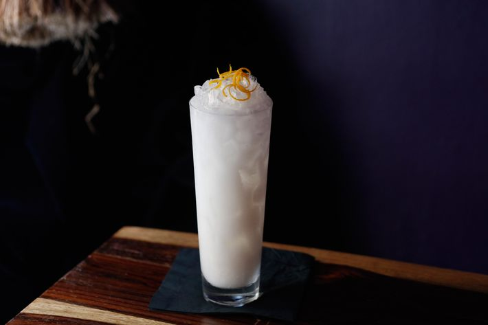 Coco Skellington: Bacardi rum, creme de coconut, lime juice, orange-blossom water, topped with crushed ice and orange zest.