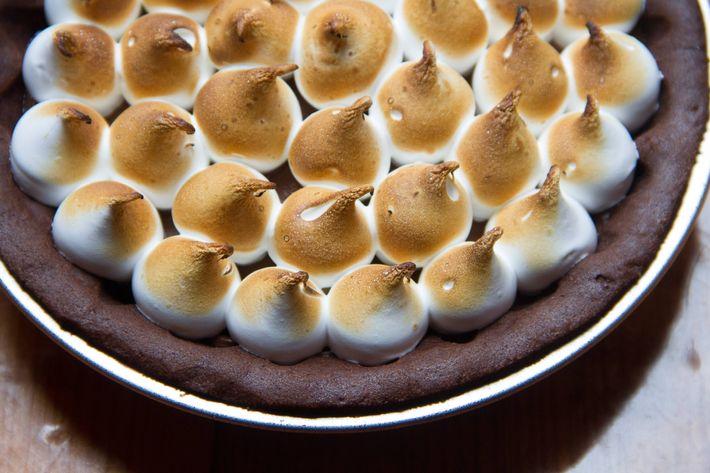 Peanut-butter-s'mores pie.