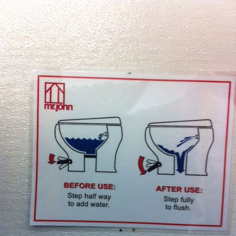 The handy users guide to the toilets that is actually posted above each one in the bathroom stalls.
